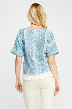 Aztec Fringed Hem Top