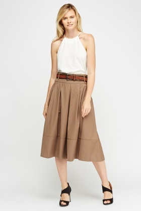 Belted Pleated Midi Skirt