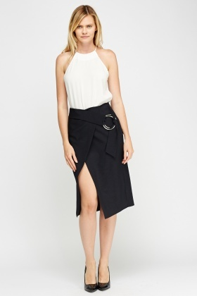 Buckled Wrap Slit Midi Skirt