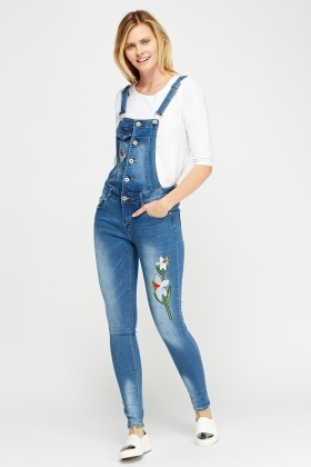 By Swan Embroidered Dungarees
