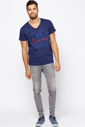 Diesel V-Neck Printed T-Shirt