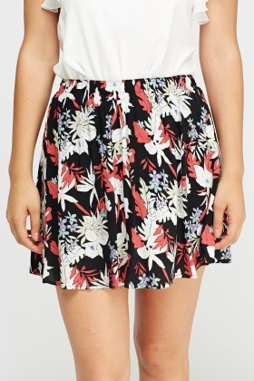 Floral Mini Swing Skirt