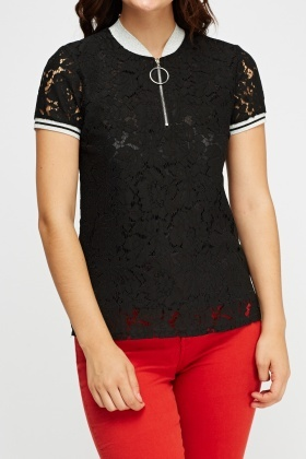 Lace Overlay Contrast Top