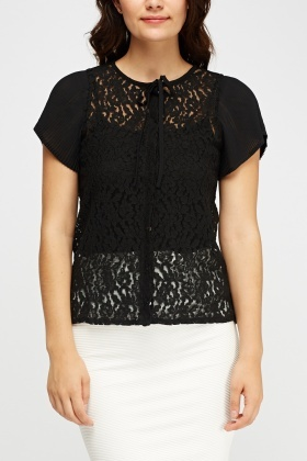 Lace Pleated Sleeve Top
