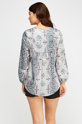 Paisley Tie Up Neck Top