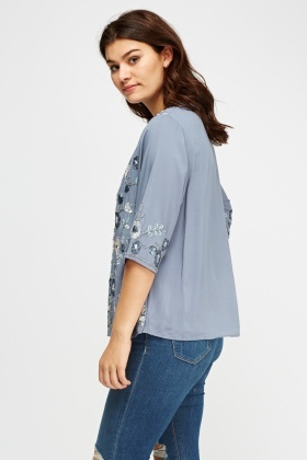 Sequin Floral Wrap Top