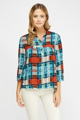 Button Neck Checked Top