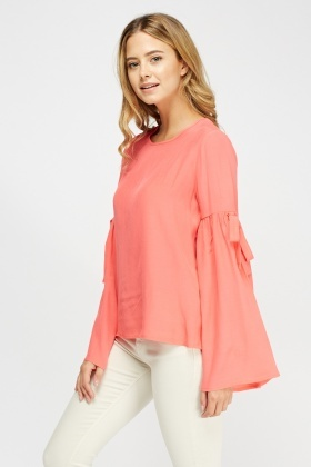 Flare Sleeve Neon Pink Top