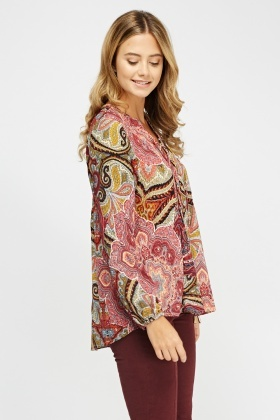 Lace Up Paisley Print Top