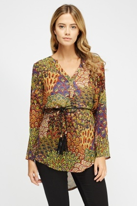Mix Print Tie Up Sheer Top