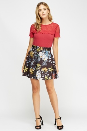 Mix Printed Swing Skirt