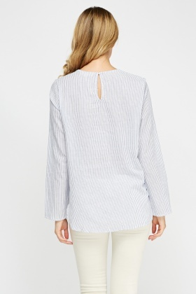 Tie Up Front Stripe Top