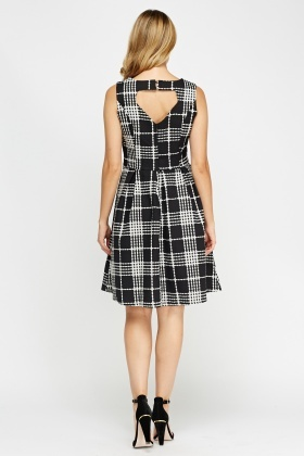 Check Grid Skater Dress