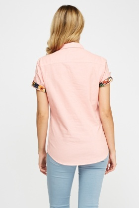 Contrast Trim Short Sleeve Shirt