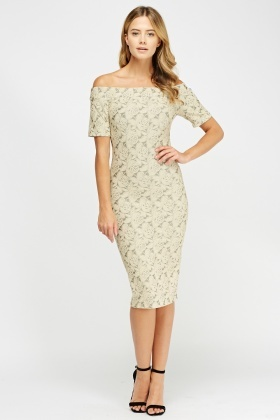 Embossed Off Shoulder Dress