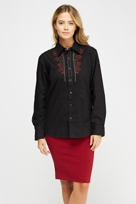 Embroidered Front Black Shirt