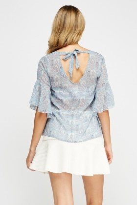 Frilled Sleeve Printed Sheer Top