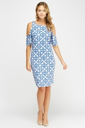 Mix Print Cold Shoulder Midi Dress