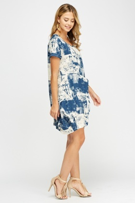 Mixed Print Basic Dress