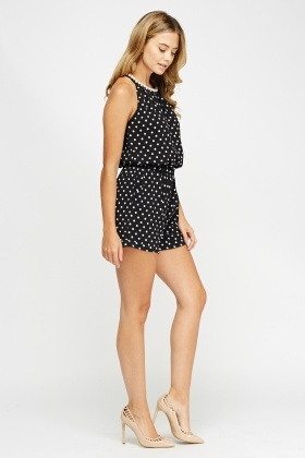 Pearl Neck Detail Polka Dot Playsuit
