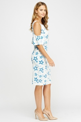 Star Print Cold Shoulder Dress