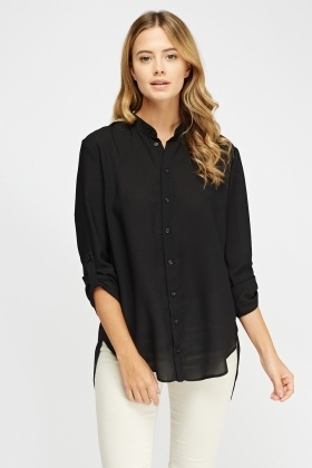 Wrapped Back Dip Hem Blouse