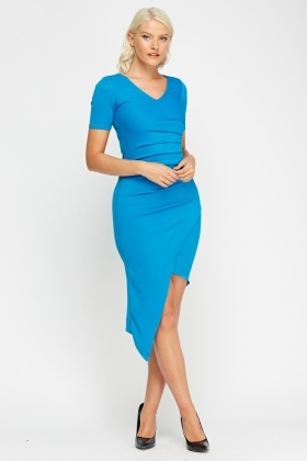 Asymmetric Ruched Bodycon Dress