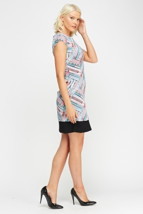 Contrast Hem Printed Dress