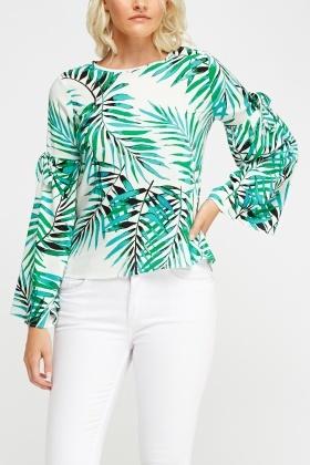 Flare Sleeve Printed Top