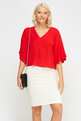 Flared Sleeve Red Textured Top