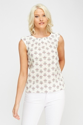 Jacquard Print Sleeveless Top
