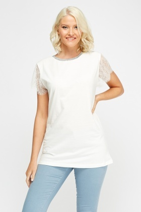Lace Sleeve Sequin Back Top