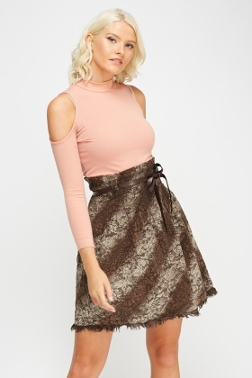 Printed Frayed Hem High Waist Skirt