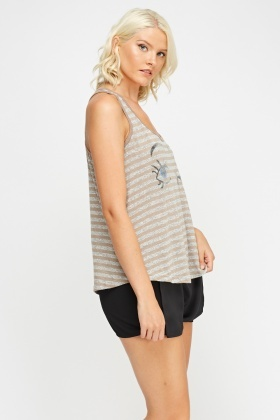 Printed Front Striped Tank Top