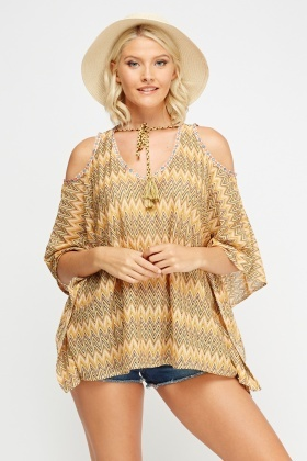 Zig Zag Cold Shoulder Cover Up Top