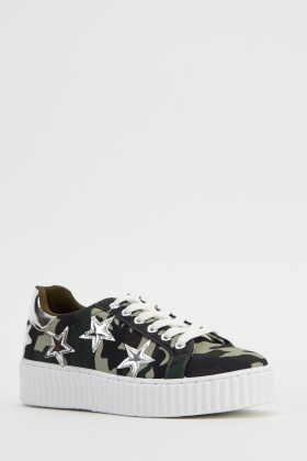 Camouflage Contrast Flatform Trainers