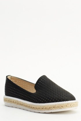 Laser Cut Black Espadrille Shoes