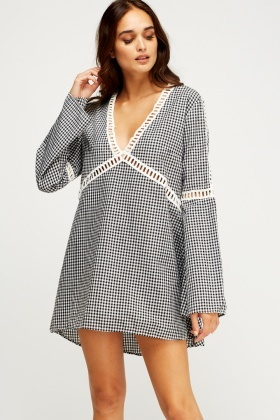 Crochet Trim Check Grid Dress