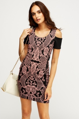 Embossed Contrast Bodycon Dress