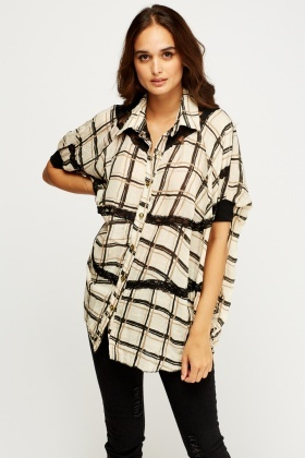 Lace Insert Checked Batwing Top