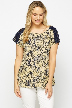 Lace Insert Printed Top
