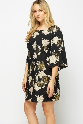 Metallic Insert Floral Shift Dress