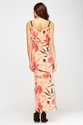Mixed Print Frilled Maxi Dress
