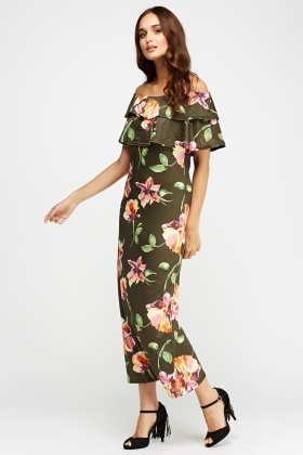 Off Shoulder Flower Print Maxi Dress