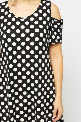 Polka Dot Cut Out Shoulder Dress