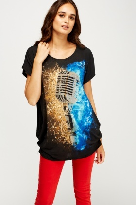 Printed Embellished T-Shirt