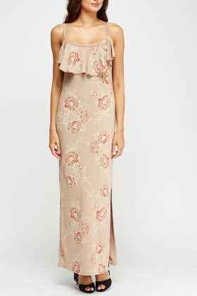 Taupe Printed Frilled Maxi Dress