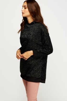 Textured Hooded Contrast Jumper