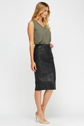 1ab297051cb Black Faux Leather Midi Skirt - Just £5