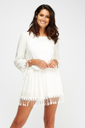 Crochet Elasticated Mini Dress